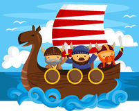 Viking. A three viking with one ship Royalty Free Stock Photo