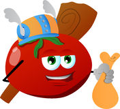 Viking tomato with a club and sack Royalty Free Stock Image