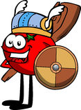 Viking tomato with a club and shield Stock Images