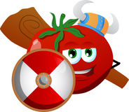Viking tomato with a club and shield Royalty Free Stock Photos