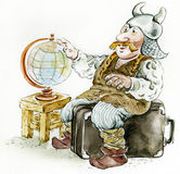 Viking-tourist ,  cartoon illustration Royalty Free Stock Photography
