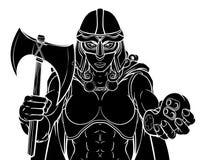 Viking Trojan Celtic Knight Gamer Warrior Woman royalty free illustration