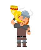 viking Un homme dans un costume un Viking jugeant le klaxon d'or disponible caractère de Viking dans un style plat illustration stock