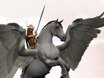 Viking Valkyrie. Valkyrie mythological Norse warrior maiden on winged horse Royalty Free Stock Image