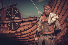 Viking warrior with axes standing near Drakkar on the seashore. Serious viking warrior with axes standing near Drakkar on the seashore stock image