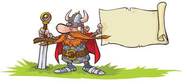 Viking warrior with banner. Royalty Free Stock Photo