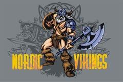Viking warrior with big axe Stock Photos