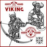 Viking warrior with big axes stock illustration
