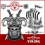 Viking warrior with big axes royalty free illustration