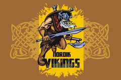 Viking warrior with big sword Stock Images