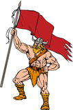 Viking Warrior Brandishing Red Flag Retro Stock Photo