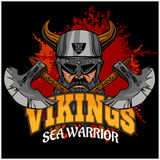 Viking warrior and crossed axes Stock Photo