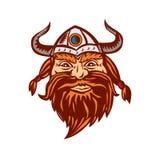 Viking Warrior Head Angry  Retro Stock Photo