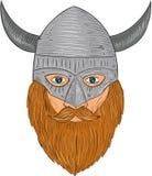 Viking Warrior Head Drawing Royalty Free Stock Photography