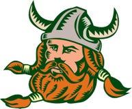 Viking Warrior Head Woodcut Stock Image