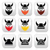 Viking warrior in helmet buttons set Stock Photography