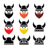 Viking warrior in helmet icons set Royalty Free Stock Image