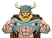 Viking Warrior Holding Swords Stock Photo