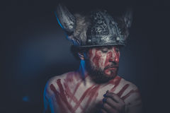 Viking warrior with a horned helmet and war paint on his face Stock Images