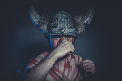 Viking warrior with a horned helmet and war paint on his face Royalty Free Stock Image