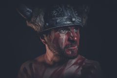 Viking warrior with a horned helmet and war paint on his face Stock Image