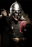 Viking warrior, male dressed in Barbarian style with sword, bear Royalty Free Stock Image