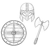 Viking warrior set - shield, two bladed axe and helmet. Hand drawn sketch. Vector illustration isolated on white illustration Royalty Free Stock Image