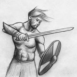 Viking warrior sketch. Viking warrior with sword, shield and no armor Royalty Free Stock Photography