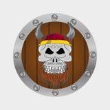 Viking warrior skull  hdnd drawn eps 10 Royalty Free Stock Image