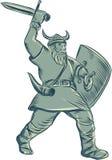 Viking Warrior Striking Sword Etching Fotografía de archivo