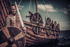 Viking warrior with sword and shield standing near Drakkar on seashore. Stock Image