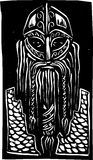 Viking Warrior. Woodcut style image of a bearded viking man in armor Royalty Free Stock Photo