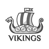 Viking warship boat with Drakkar or Drekar figurehead vector icon Royalty Free Stock Photos
