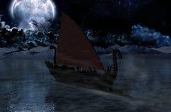 Viking warship at moonlight Stock Photos