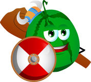 Viking watermelon with a club and shield Royalty Free Stock Images