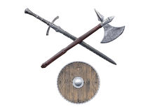 Viking weapons isolated on white background Royalty Free Stock Photography