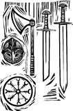 Viking Weapons. Woodcut style image of viking weapons and armor Royalty Free Stock Photo