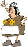 Viking woman with a brass bra Stock Image