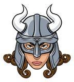 Viking Woman Warrior Mascot illustrazione vettoriale