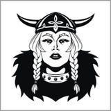 Viking Woman Warrior. Vector Illustration Royalty Free Stock Images