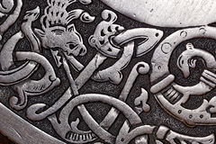 Viking wood carving of a dragon Stock Photos