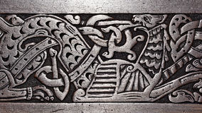 Viking wood carving of a griffin Royalty Free Stock Photography