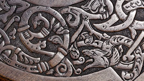 Viking wood carving of a wolf Royalty Free Stock Images