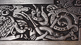 Viking wood carving of a wolf. Spewing fire Stock Images