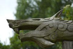 Viking woodcarving of mythical beast, Denmark royalty free stock photo
