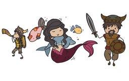 Viking y sirena stock de ilustración