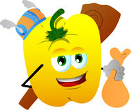 Viking yellow bell pepper with a club and sack Stock Image