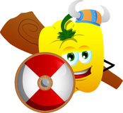 Viking yellow bell pepper with a club and shield Stock Image