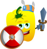 Viking yellow bell pepper with sword Royalty Free Stock Photography