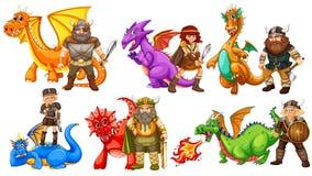 Vikingen en draken royalty-vrije illustratie